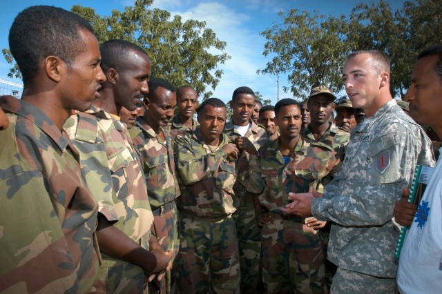 Staff Sgt. Robert Conley provides instructions on how to detect IEDs to Ethiopian National Defense Soldiers as part of a Combined Joint Task Force - Horn of Africa's train-the-trainer course in Hurso, Ethiopia.