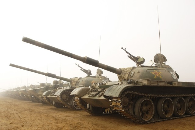 Chinese tanks are ready to roll at Shenyang training base.