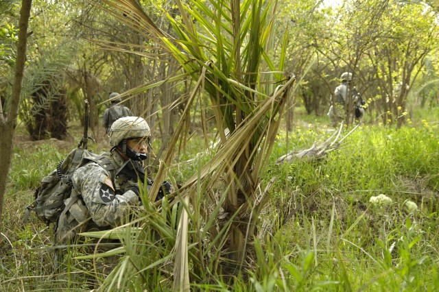 The Soldiers wade through the grass, which remains thick and green, even in winter.
