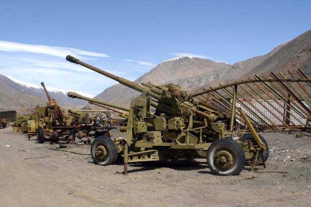 Pieces of Soviet artillery and equipment from failed invasions fill a junkyard in Panjshir Province. Local hero Shaeed Ahmad Shah Masood and the people of Panjsheer repelled numerous Soviet offensives, inflicting high war casualties on the Soviets while faced with a 10-1 disadvantage.