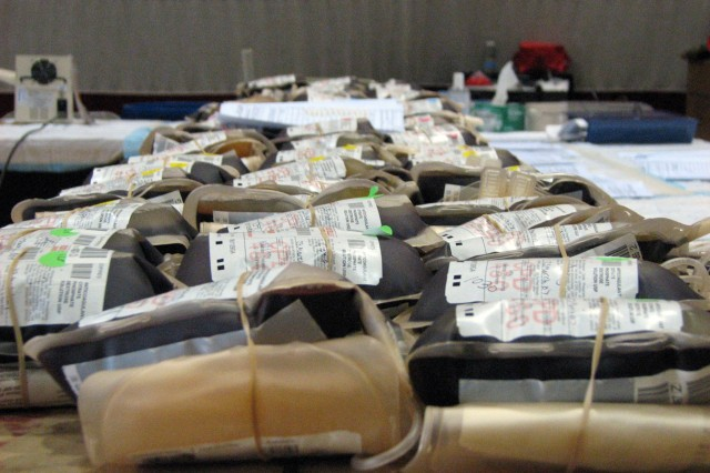 Units of blood wait to be packed in ice at a Fort Carson/U.S. Air Force Academy blood drive March 23.