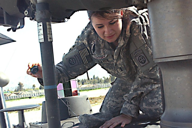 Army 1st Lt. Elizabeth Eaton conducts a pre-flight check of a UH-60 Blackhawk helicopter March 23 at Jalalabad Airfield as part of her everyday routine.