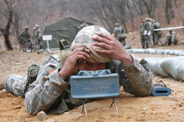 Employing a claymore mine was one of the events during the Expert Infantryman's Badge testing that took place at Camp Casey, Korea.