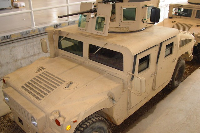 A Picatinny Objective Gunner Protection Kit installed on a Humvee.