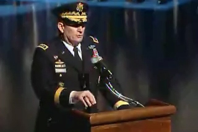 GEN Peter Schoomaker, the 35th Army Chief of Staff, makes his final remarks to the troops at his retirement ceremony at Fort Myer, Virginia.