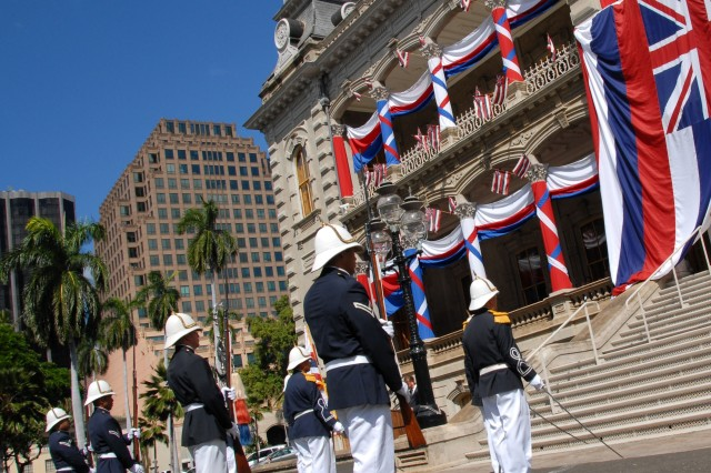Soldiers from the Hawaii Royal Guard celebrates their unit's 43rd anniversary at the Iolani Palace in Honolulu. The Royal Guard is made up of volunteers from the Hawaii National Guard with Hawaiian ancestry and they participate in state functions and post guards to the entrances of Queen Lilioukalani's Palace during state ceremonies.