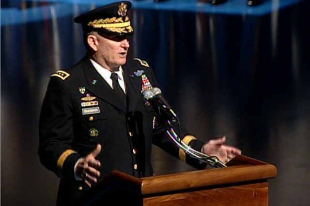 Chief of Staff General Peter Schoomaker at Fort Myer Comny Hall.