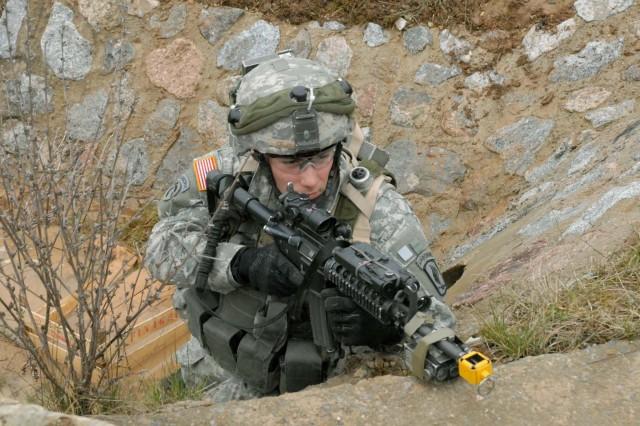 Sgt. Dominic Celio gets into a good firing position.