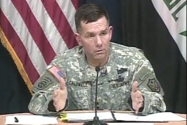 Multi-National Force-Iraq spokesman Major General William Caldwell speaking with reporters in Iraq.