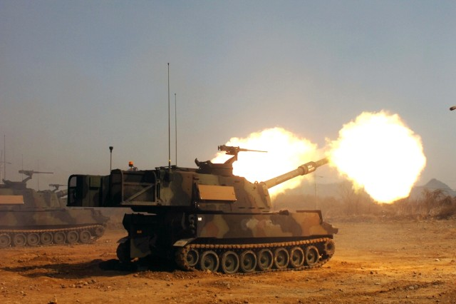 Soldiers from 2nd Bn., 5th FA, based in Fort Sill, Okla., traveled to Korea to conduct training on their Paladin Howitzers in support of Operation Foal Eagle March 31-April 5. They were supported by 1st Bn., 15th FA during the training at St. Barbara Training Area.