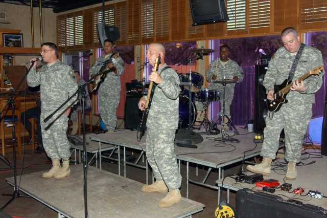 Soldiers from the 4th Infantry Division band played some good old rock n' roll at Legends Pub April 13. They were on hand as the 4th Inf. Div. Association held a meeting to elect a new executive board as well as sign up new members.