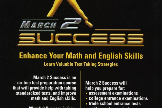 The U.S. Army Recruiting Command is helping prospective recruits and other students improve their test-taking strategies and math, science and English skills though March2Success, a free Web-based program.