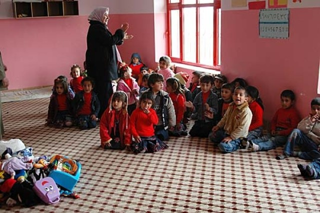 Although classroom furniture and traditional school supplies are missing, Batel Kindergarten students and their teachers energize the empty rooms with recitation, singing and the spirit of learning.