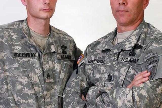 Command Sgt. Maj. Douglas Greenway and Staff Sgt. Brandon Greenway.
