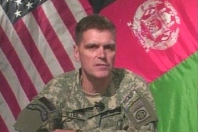 Brigadier General Joseph Votel, Deputy Commanding General for Operations for Combined JTF-82, and Deputy Commanding General, 82nd Airborne Division, during a briefing on ongoing security and stability operations in Afghanistan.