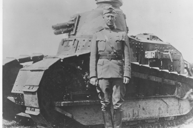 Lieut. Col. George S. Patton, Jr., 1st Tank Battalion, and a French Renault tank, summer 1918. Source: World War I Signal Corps Photograph Collection.