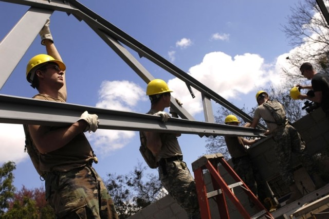 Soldiers from the 153rd Engineers Battalion install rafters at the La Calera school construction site in Nicaragua.