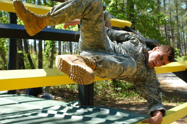 Staff Sgt. Michael Broussard, from the 75th Ranger Regiment, negotiates the Darby Queen Obstacle Course during the 2007 Lt. Gen. David E. Grange Best Ranger Competition this past weekend.