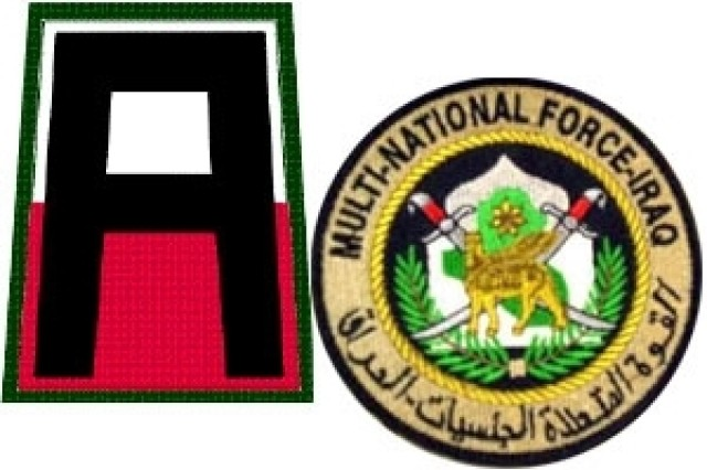 The distinctive unit insignia of First Army as well as Multi-National Force-Iraq.