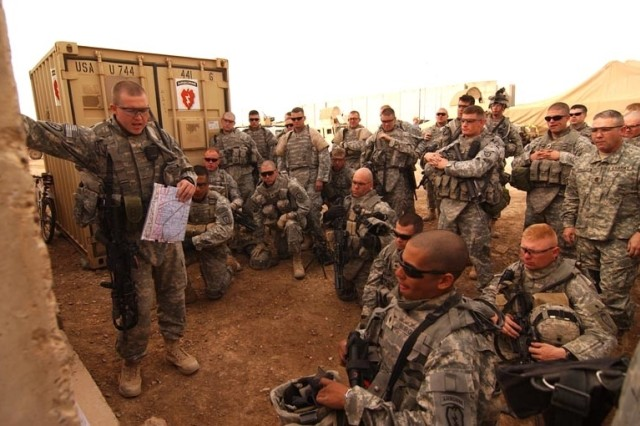 2nd Lt. Jason Franklin conducts a mission brief at Forward Operating Base Kalsu, Iraq, before a reconnaissance mission in Diyarah. The Soldiers are from the 4th Brigade Combat Team, 25th Infantry Division.