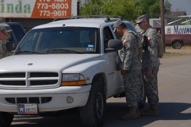 Texas National Guard Soldiers assist with security in the aftermath of the tornado, which devastated parts of Eagle Pass, Texas.