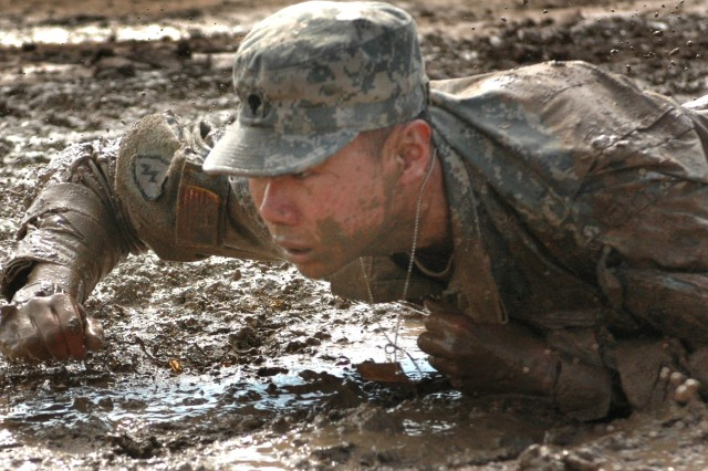The thought of earning his spurs, spurs this Soldier onward despite being fatigued.