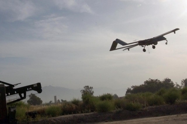 A Shadow unmanned aerial vehicle takes off from Jalalabad Airfield, April 27.