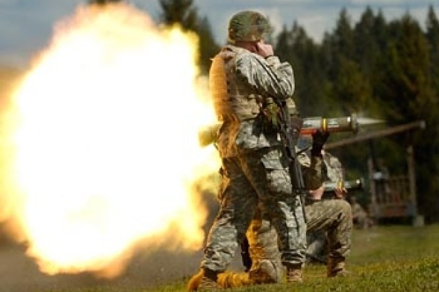 A Soldier from 2-1 Inf., 5th Bde., 2nd Inf. Div. fires an AT-4 during training at Range 59. Soldiers began preparations last week, with rifle marksmanship and anti-tank training.