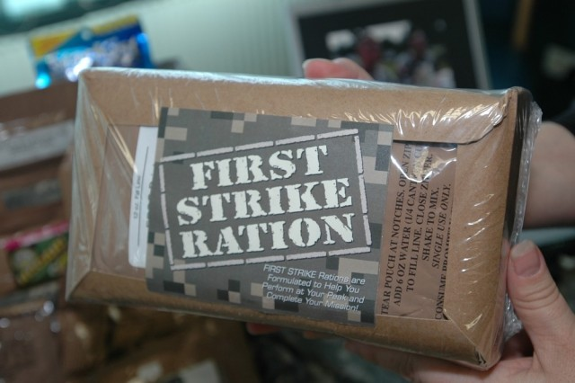 One of two new MREs Soldiers taste tested in Heidelberg, Germany was the First Strike Ration designed as a substitute for three MREs.