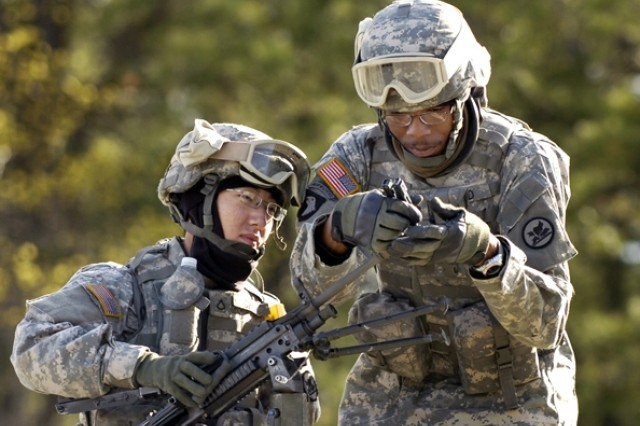 Pfc. David Choi and Cpl. Rico Boyd check a blank-fire adapter after a simulated convoy attack.