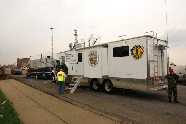 The Kansas National Guard set up a command and control center in Greensburg, Kan., May 5.