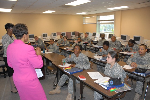 Soldiers in the Basic Skills Education Program attend class for two-and-a-half weeks before taking the Armed Forces Classification Test to raise their General Technical score.