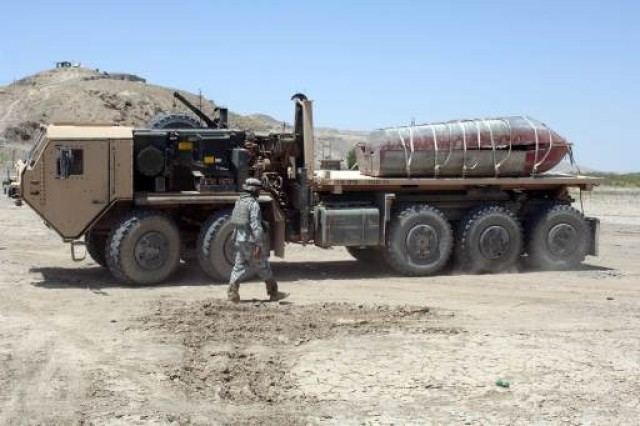 The HEMTT provides transport capabilities for re-supply of combat vehicles and weapons systems.
