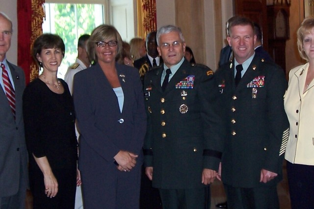 From left to right are: Acting Secretary of the Army Pete Geren, Sheila Casey, Ms. Beerky, Army Chief of Staff Gen. George Casey, Sergeant Major of the Army Kenneth Preston and Karen Preston.