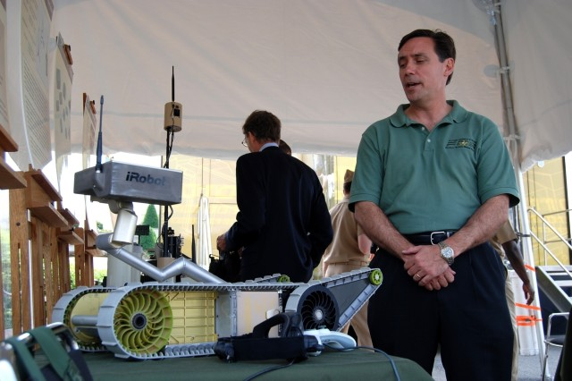 An FCS Program member explains what the SUGV does. Future Combat Systems were on display at the Pentagon on May 11, 2007.