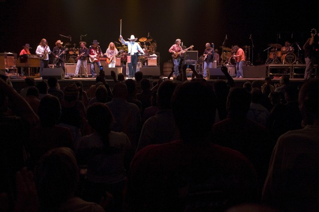 Members of The Charlie Daniels Band, The Marshall Tucker Band and The Outlaws all take the stage for the grand finale of the Volunteer Jam show held in Tampa, Fla., May 11. Veterans of the wars in Iraq and Afghanistan had the opportunity to meet Charlie Daniels and received a standing ovation from the audience during the show.