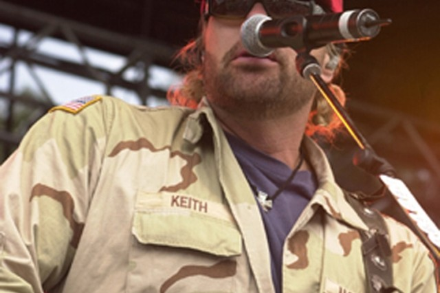 Country singer Toby Keith plays during a previous tour of European bases. Keith is scheduled to play 3 p.m. May 25 in Hangar 1034 on Wiesbaden Army Airfield, Germany.