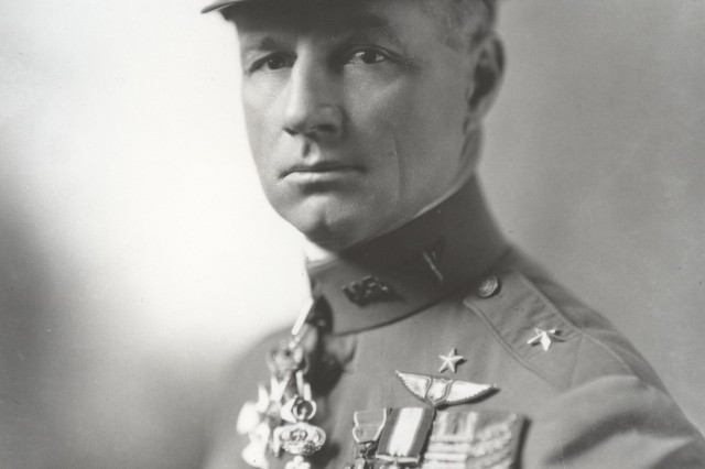 "Brigadier General William (""Billy"") Mitchell was awarded the Distinguished Service Cross, the Distinguished Service Medal and numerous foreign decorations for his service commanding all Air Service combat units in France during World War I.  An outspoken proponent of airpower, he was court-martialed in 1925 for insubordination. (Personalities Photograph Collection)"