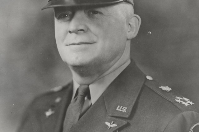 "General Henry (""Hap"") Arnold became one of the Army's first aviators certified under the Rules of the Federation Aeronautique Internationale (FAI).  During World War II he commanded the Army Air Forces and became the first General of the Air Force in 1947.  Throughout his career, he wore his original 1913 Military Aviator Badge (an eagle with crossed signal flags suspended from a bar inscribed ""MILITARY AVIATOR"") below his ribbon bars. (Personalities Photograph Collection)"