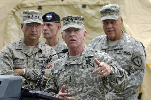 Lt. Gen. H Steven Blum speaks during a press conference at the Muscatatuck Urban Training Center, Ind., May 12. Behind him are (from left) Air Force Gen. Victor E. Renuart Jr., commander of the North American Aerospace Defense Command and U.S. Northern Command; Army Maj. Gen. Bruce E. Davis, commander of Joint Task Force Civil Support; and Army Maj. Gen. R.Martin Umbarger, Indiana Adjutant General. The generals were attending an exercise which tested the Guard's response to a simulated nuclear weapons attack on the United States.