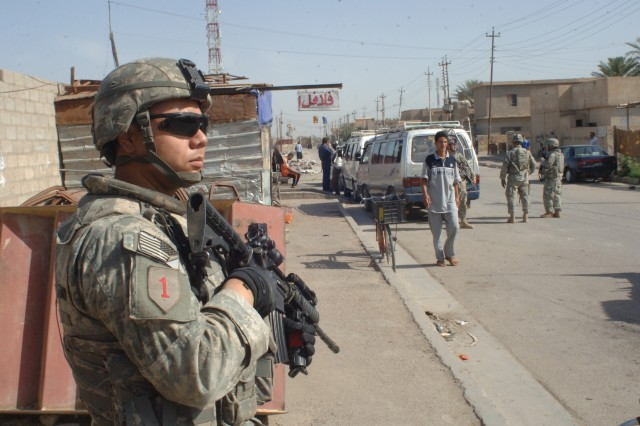 Pvt. Anthony Salazar pulls security for fellow Soldiers during the patrol.