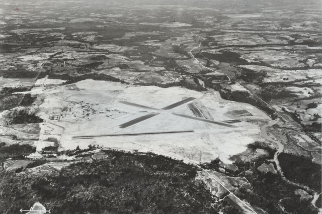 Aerial image of the Tuskegee Army Air Field located in Alabama, 1942. (WW2 Signal Corps Collection).