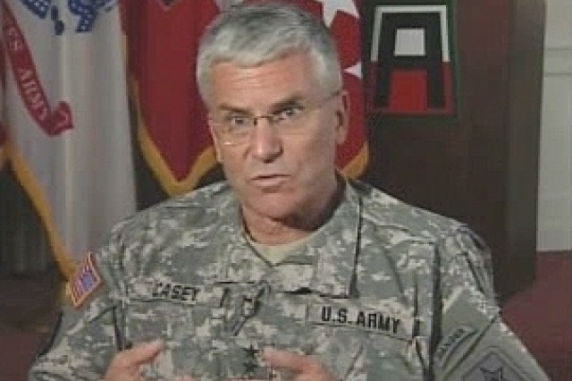 U.S. Army Chief of Staff General George Casey jr. during an interview with Soldiers Radio and Television.