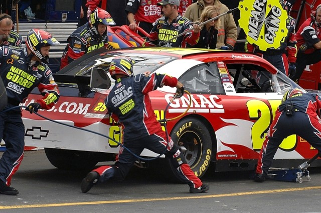 Driver Casey Mears makes a pitstop.