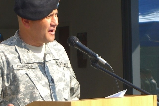 Command Sgt. Maj. Anthony Cordova speaks to guests after his change of responsibility ceremony April 27. Cordova became the first command sergeant major for U.S. Army Garrison Brussels.