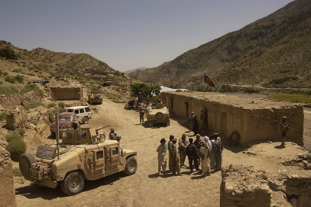 A convoy from the Khowst Provincial Reconstruction Team visits a district center in the Spera district of Khowst province, Afghanistan to assess the area's security situation.