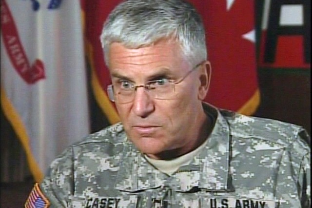 Gen. Casey talks about the impact of war on Soldiers during an interview.
