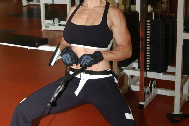 Theresa Hendricks works out at the Fort Monroe Fitness Center.