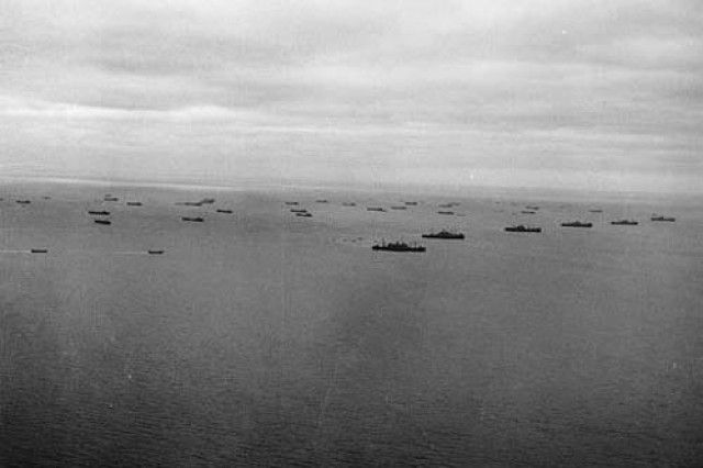 Ships carry Soldiers and equipment across the English Channel toward the coast of Normandy, D-Day, June 6, 1944.