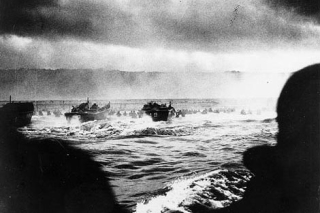 A convoy of landing craft nears the beach at Normandy, D-Day, June 6, 1944.